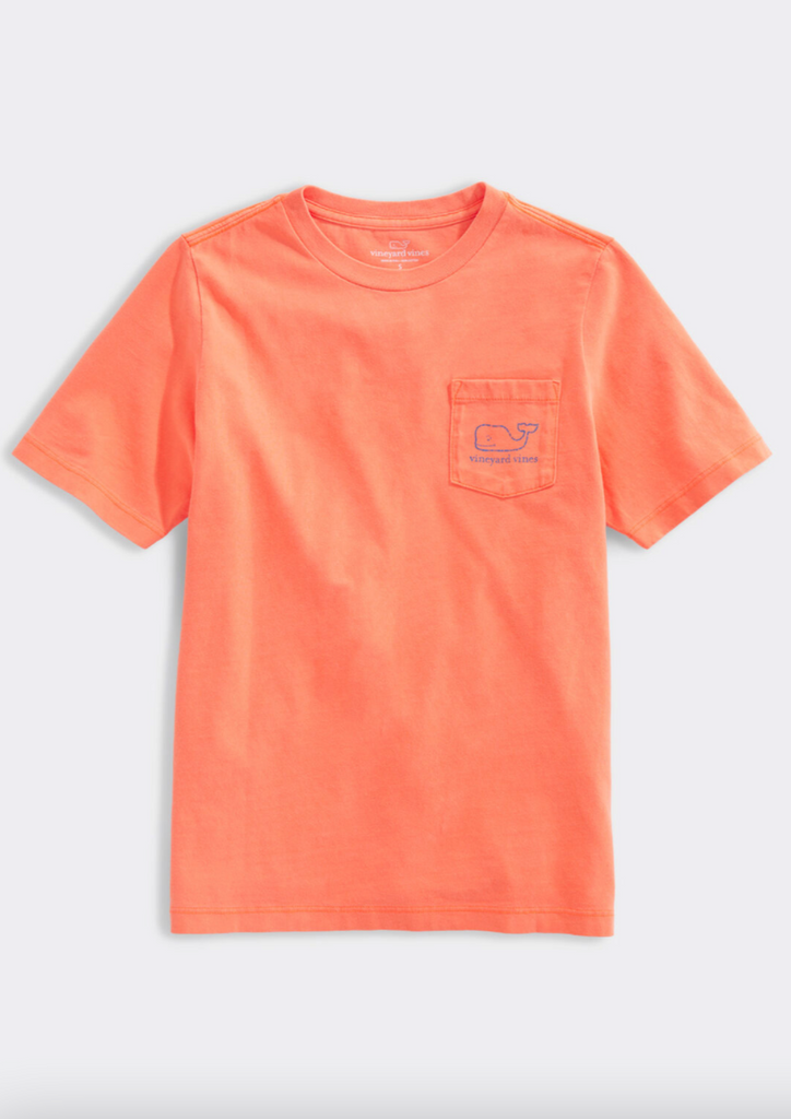 Vineyard Vines Boys' SS Garment Dyed Neon Vintage Whale Pocket Tee - Shocking Orange