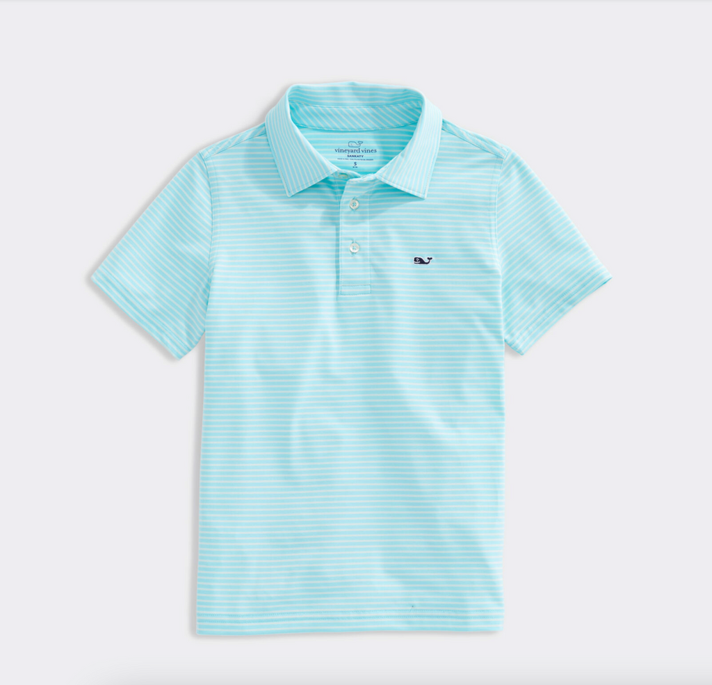 Vineyard Vines Boys' Bradley Stripe Sankaty Performance Polo - Poolside/Sprout