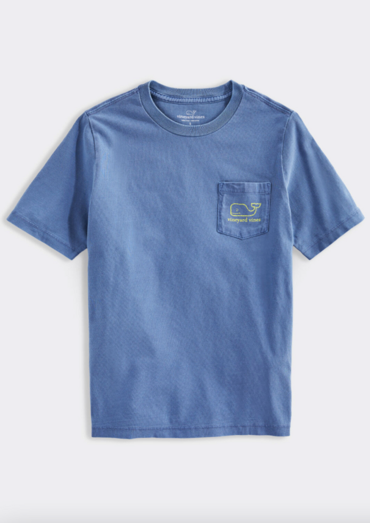 Vineyard Vines Boys' SS Garment Dyed Neon Vintage Whale Pocket Tee - Moonshine