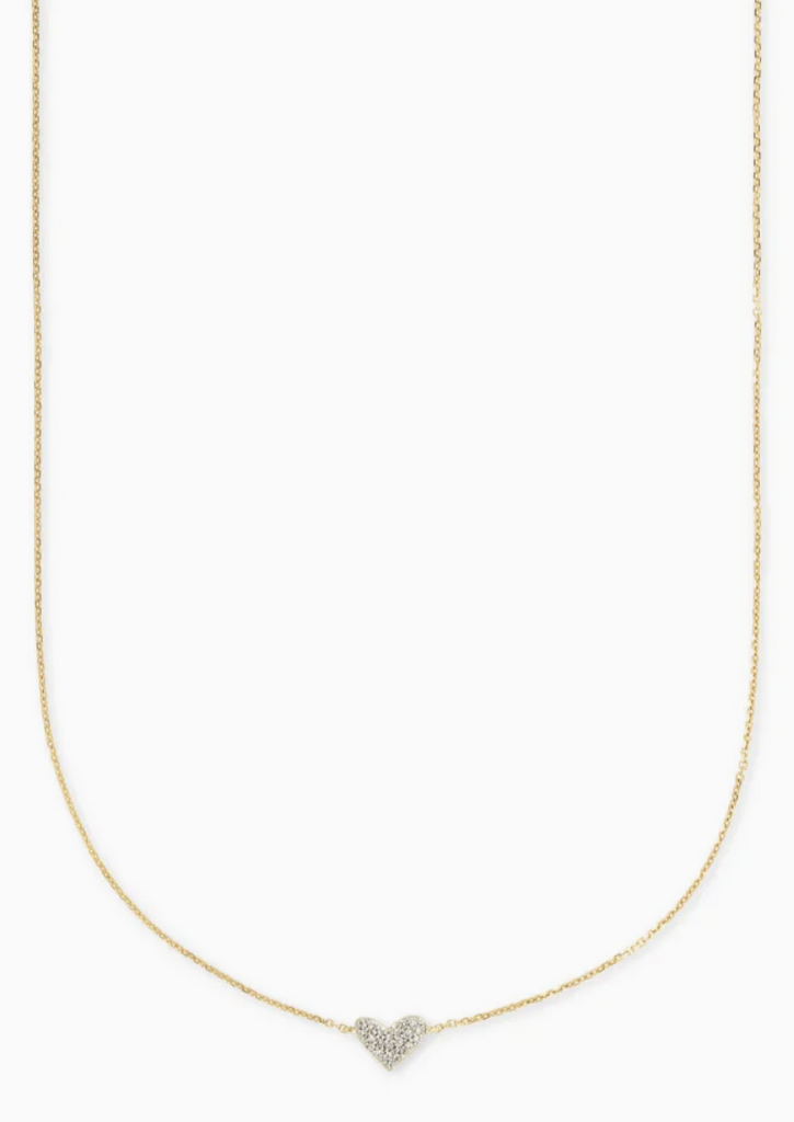 14K Gold Heart Necklace - White Diamond