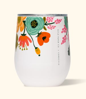 The CORKCICLE 12 oz. Stemless Tumbler - Lively Floral Cream Stemless Wine Glasses from CORKCICLE at Shop Southern Roots TX