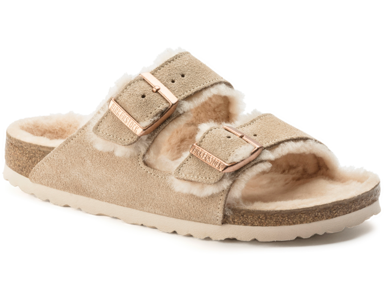 The Birkenstock Arizona Shearling Suede Leather - Nude Women's Clothing - Shoes from Shop Southern Roots TX at Shop Southern Roots TX