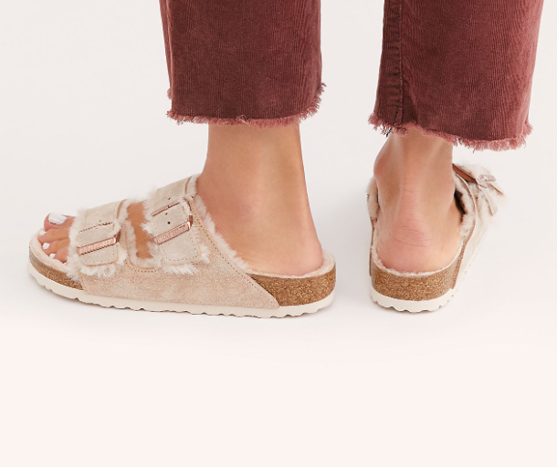 The Birkenstock Arizona Shearling Suede Leather - Nude Women's Clothing - Shoes from Birkenstock at Shop Southern Roots TX