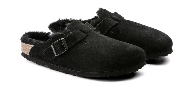 The Birkenstock Boston Shearling Suede Leather - Black Women's Clothing - Shoes from Birkenstock at Shop Southern Roots TX