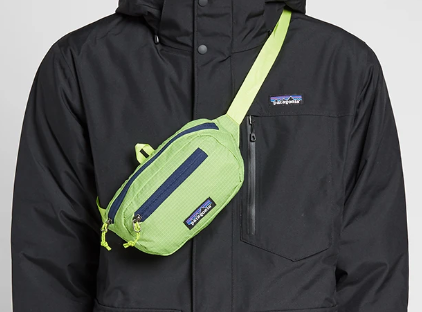 The Patagonia Ultralight Black Hole® Mini Hip Pack 1L - Patchwork: Peppergrass Green Women's Backpacks from Patagonia at Shop Southern Roots TX