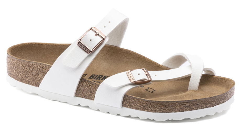 The Birkenstock Mayari Birko-Flor - White w/ Copper Women's Clothing - Shoes from Birkenstock at Shop Southern Roots TX