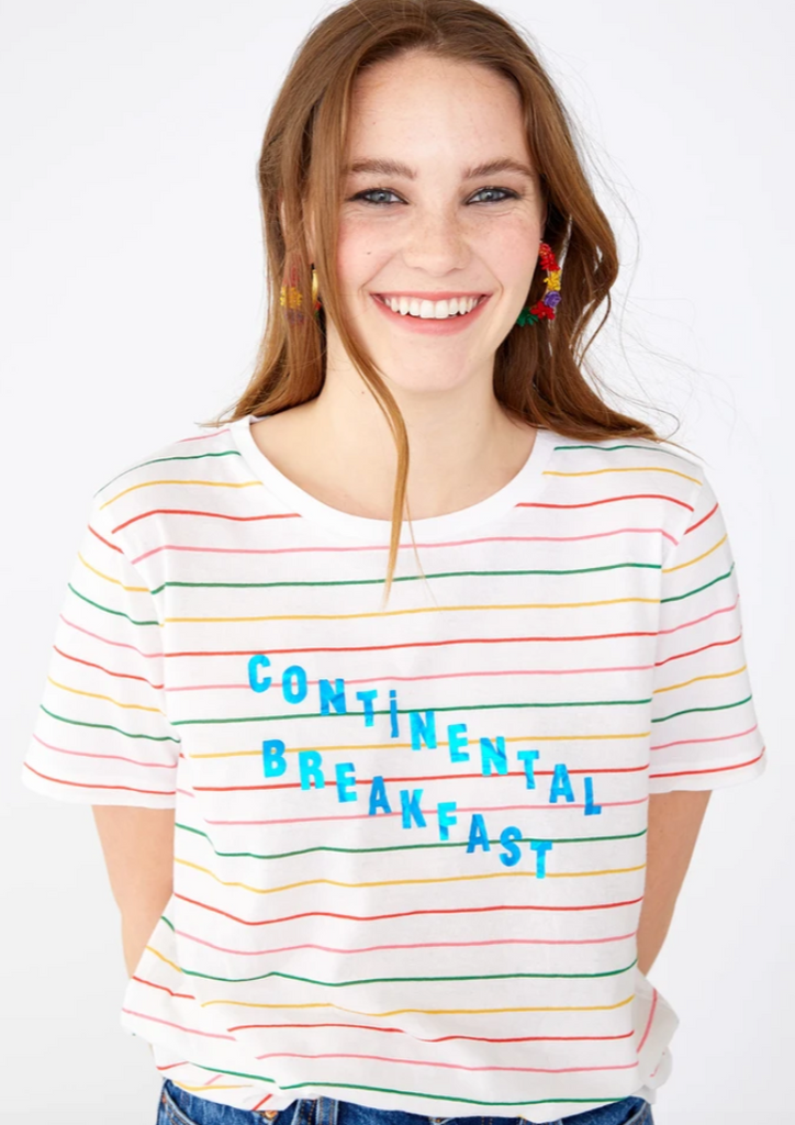The Continental Breakfast Stripe Tee Women's Clothing - Tops - Tees from Bando at Shop Southern Roots TX