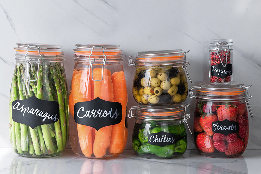 The Argon Tableware range of Glass Storage Jars with Airtight Clip Top Lids - Suitable for Fruits, Vegetables, Pickles, Seasonings and more