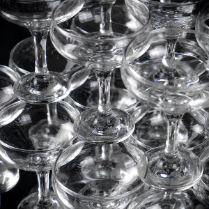 Close Up Shot of Rink Drink Champagne Saucers