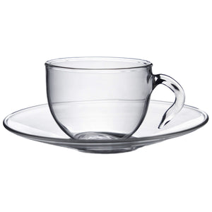Argon Tableware Glass Tea Cup and Saucer Sets