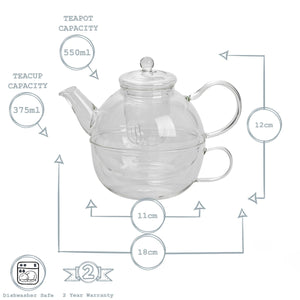 Argon Tableware Modern Glass Teapot and Cup Set for One