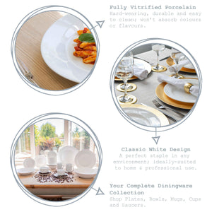 Argon Tableware 6 Classic Rimmed China Dessert Plates - 190mm
