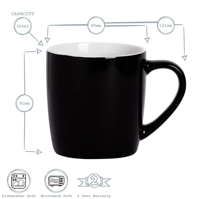 Argon Tableware Coloured Coffee Mugs - 350ml - Black/Grey - Pack of 6