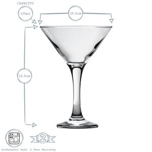 Rink Drink 6 Martini Cocktail Glasses