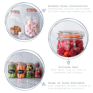 Argon Tableware Glass Storage Jar - 125ml - Orange Seal