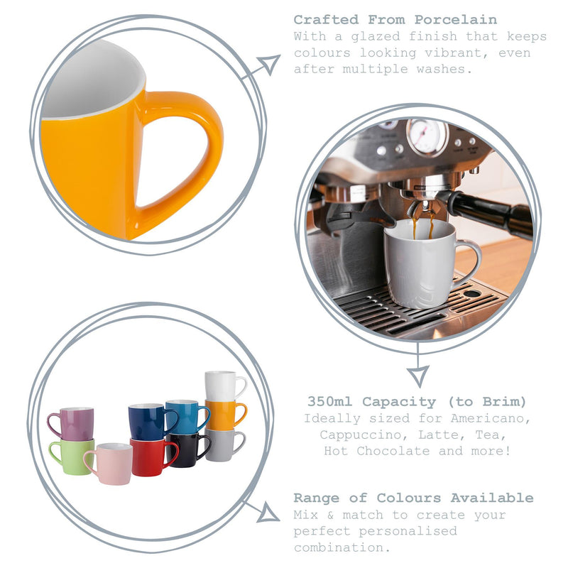 Argon Tableware Coloured Coffee Mugs - 350ml - Greyscale - Pack of 6