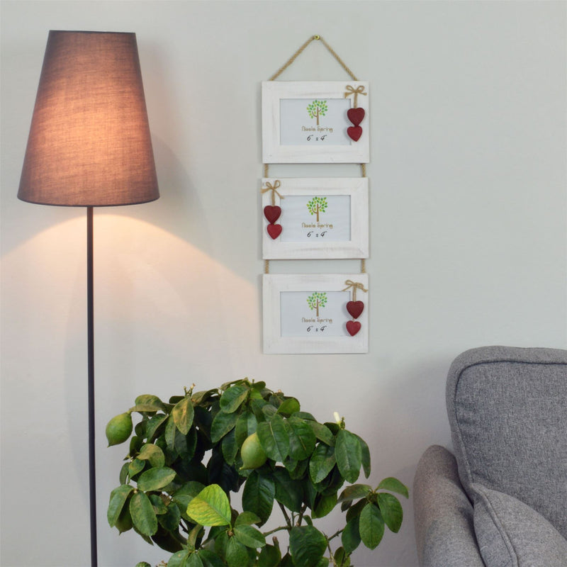 "Nicola Spring Rustic Hearts Hanging 3 Photo Frame - 6 x 4"" - White/Red"