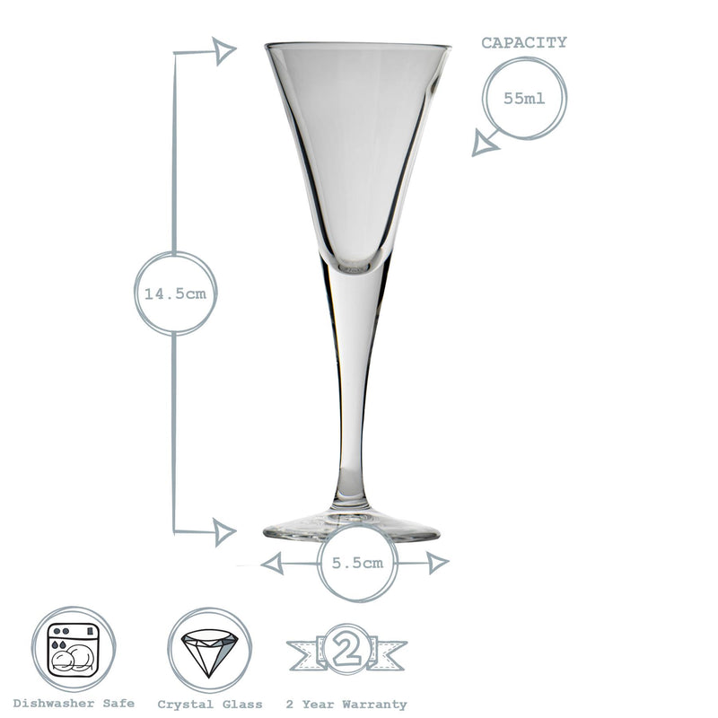 Bormioli Rocco Fiore Sherry Glasses - 55ml - Pack of 6