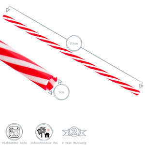 Rink Drink 10 Classic Red Striped Reusable Drinking Straws Detail