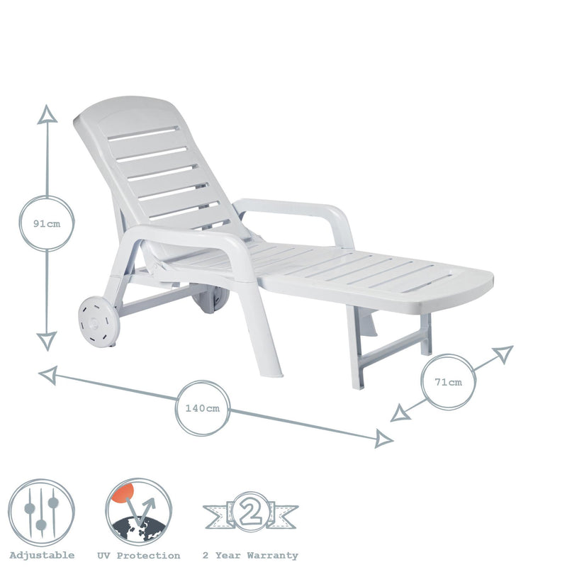 Resol Palamos 3 Position Sun Lounger - White