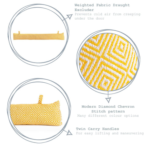 Nicola Spring Decorative Draught Excluder Yellow 80cm Key Features