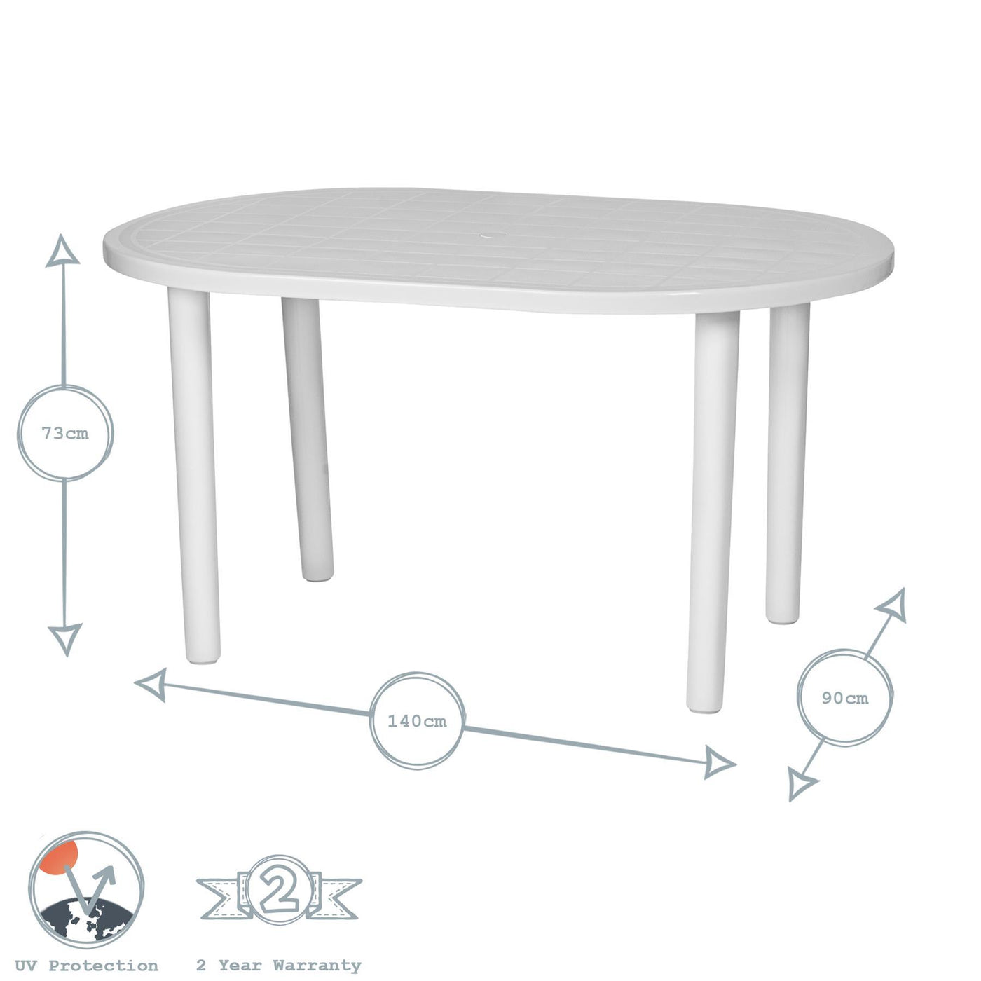 Large 90cm Green Resin Round Garden Dining Table Parasol Hole