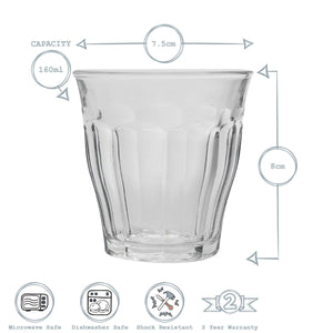 Duralex Picardie Water Glasses - 160ml - Pack of 6