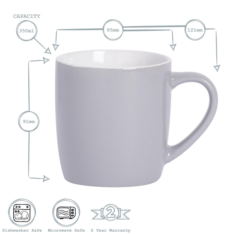 Argon Tableware Coloured Coffee Mugs - 350ml - Grey/White - Pack of 6