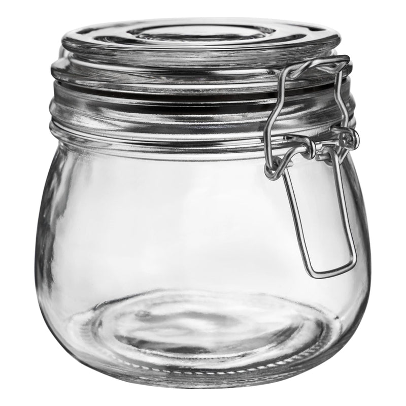 Argon Tableware Glass Storage Jar - 500ml - Black Seal