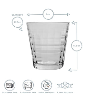Duralex Prisme Tumbler Glasses - 220ml - Set of 6