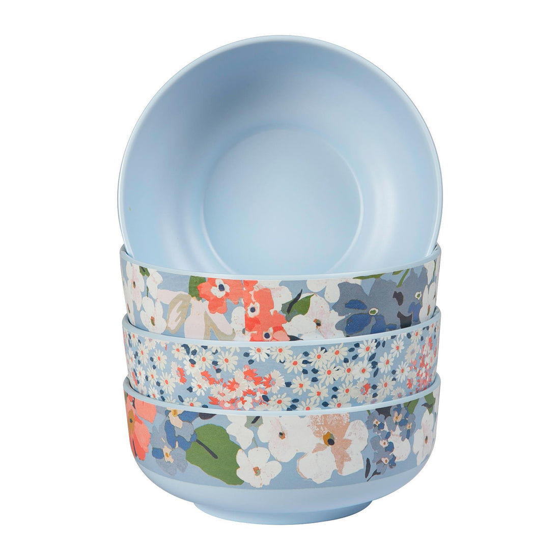 Joules Outdoor Dining Melamine Bowls - 15cm - Blue Floral - Pack of 4