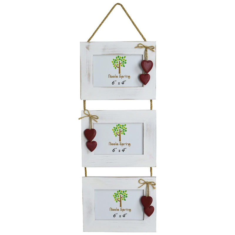 "Nicola Spring Triple White Wooden 3 Photo Hanging Picture Frame With Red Hearts - 6 x 4"" Nicola Spring 6 x 4"