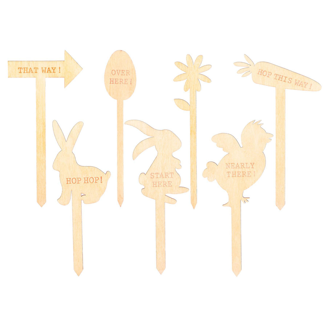 Nicola Spring Easter Egg Hunt Signs - 15cm - Natural - Pack of 7