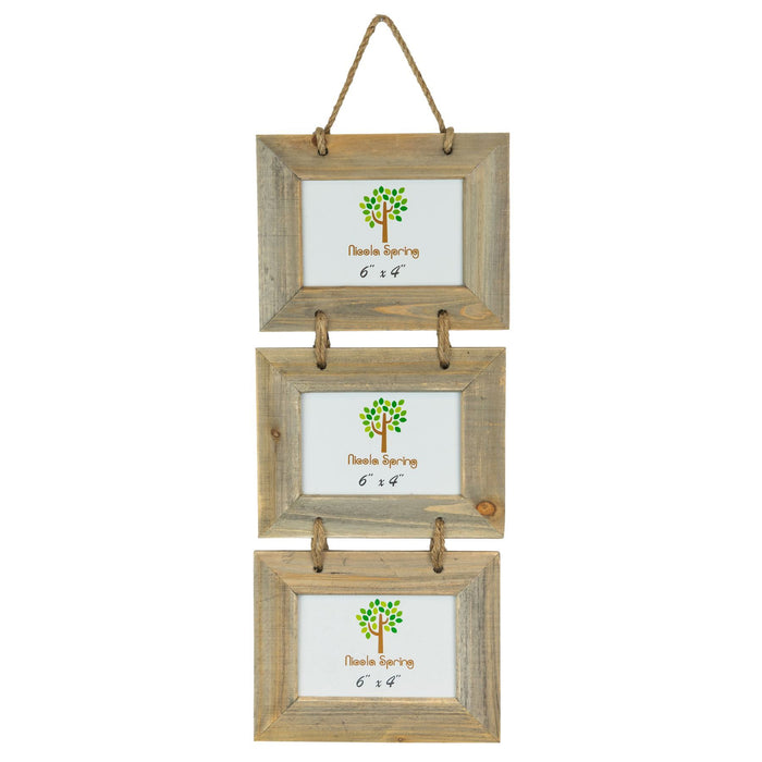 Nicola Spring 6x4 Hanging Picture Frame (3 Photo) - Natural