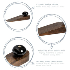 Nicola Spring Traditional Wooden Wedge Door Stop - Black