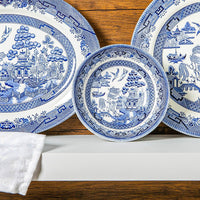 Churchill Blue Willow Georgian Dessert Bowls - 15.5cm - Blue - Pack of 6