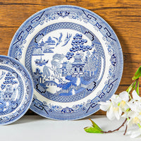Churchill 12 Piece Blue Willow Georgian Dinner Set - Blue