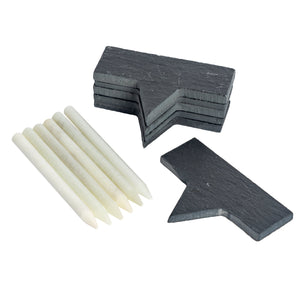 Argon Tableware 6 Slate Cheese Board Markers with Chalk