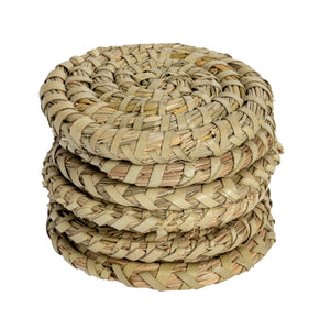 Argon Tableware 6 Round Hand Woven Palm Leaf Drinks Coasters