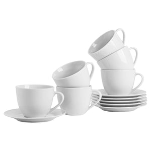 Argon Tableware 12 Piece Classic China Cup/Saucer Set - 320ml