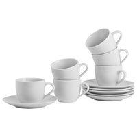 Argon Tableware Set of 6 China Cups & Saucers - 200ml - White
