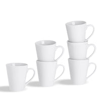Argon Tableware Set of 6 Classic China Latte Coffee Mugs - 285ml