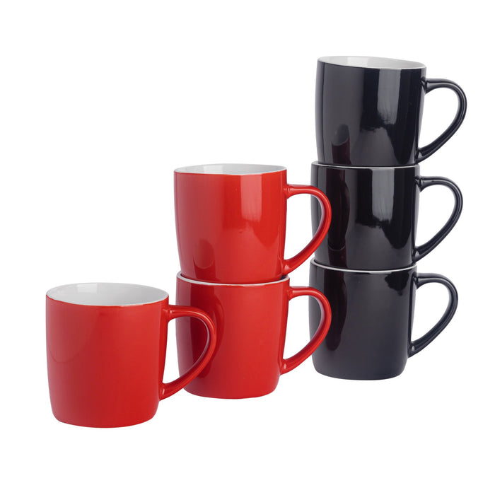 Argon Tableware 6pc Contemporary Coffee Mug Set - 350ml - Red & Black