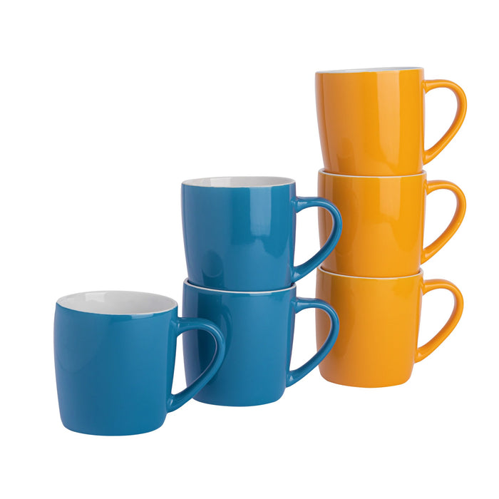 Argon Tableware 6pc Contemporary Coffee Mug Set - 350ml - Blue & Yellow