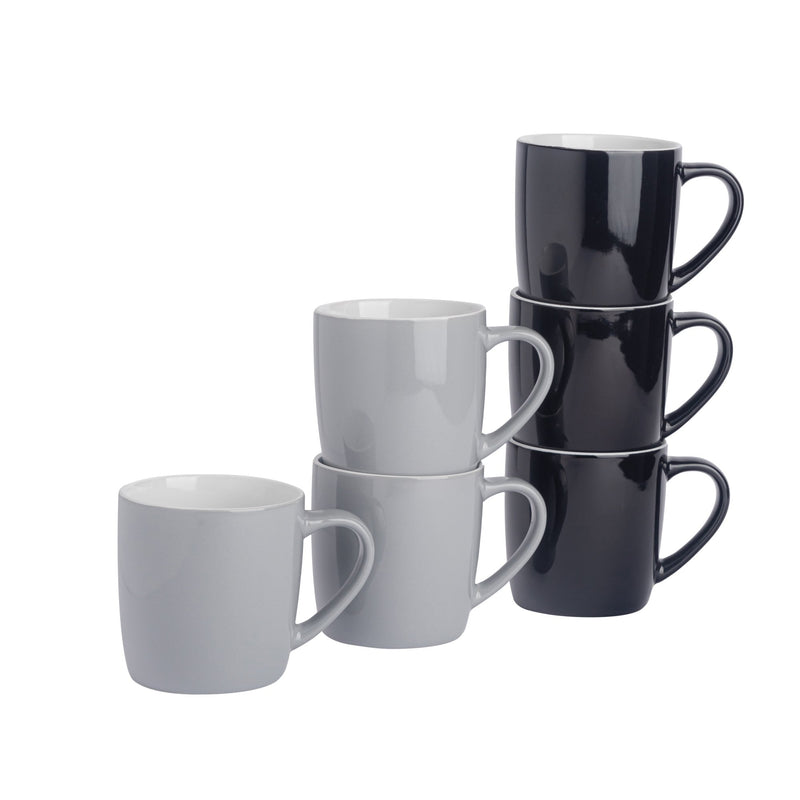 Argon Tableware 6pc Contemporary Coffee Mug Set - 350ml - Black & Grey