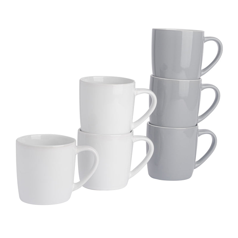 Argon Tableware 6pc Contemporary Coffee Mug Set - 350ml - Grey & White