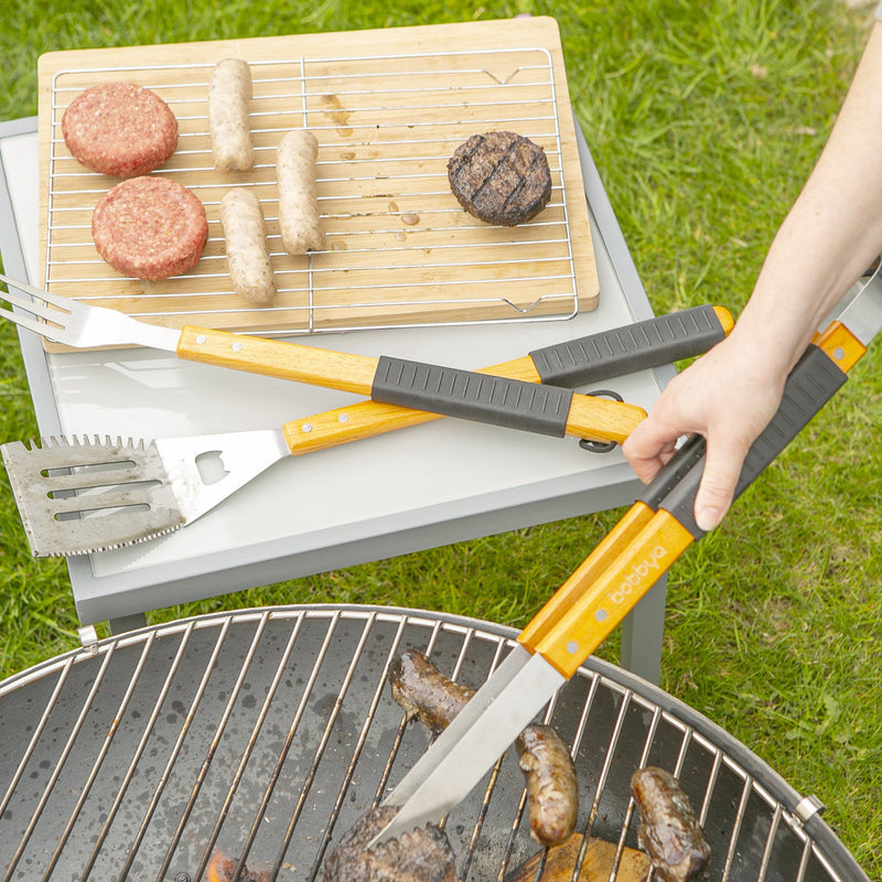 BobbyQ 3 Piece Wooden BBQ Tools Set - Silver