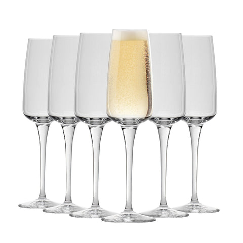 Bormioli Rocco Aurum Glass Champagne Flutes Set - 230ml - Pack of 6