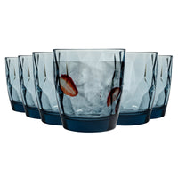 Bormioli Rocco 6 Diamond Whiskey Glasses - Blue - 300ml