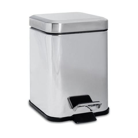 Harbour Housewares 3 Litre Square Steel Bathroom Pedal Bin - Chrome